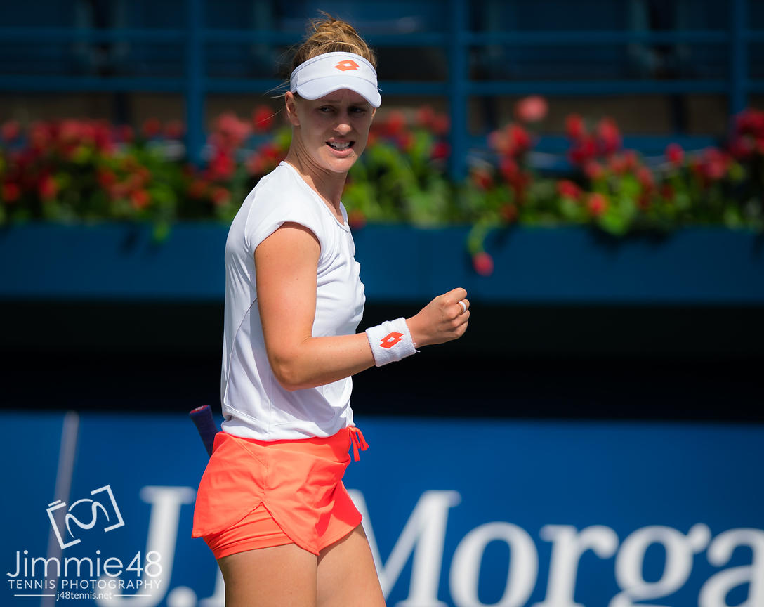 Alison Riske of the United States in action during her first-round match at the 2019 Dubai Duty Free Tennis Championships WTA Premier 5 tennis tournament
