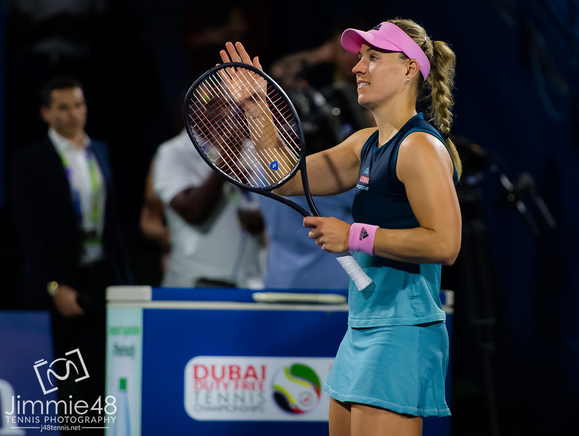 IAngelique Kerber of Germany celebrates winning her second-round match at the 2019 Dubai Duty Free Tennis Championships WTA Premier 5 tennis tournament