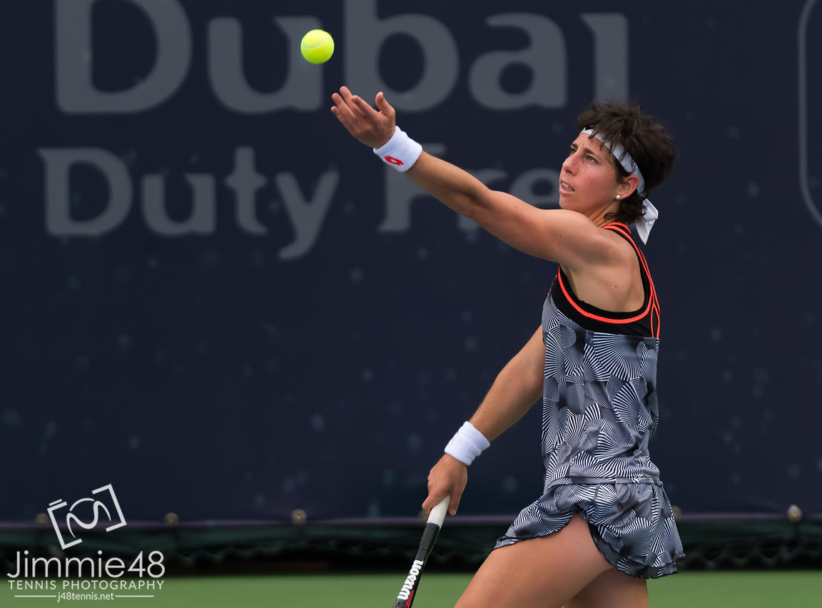 Carla Suarez Navarro of Spain in action during her second-round match at the 2019 Dubai Duty Free Tennis Championships WTA Premier 5 tennis tournament