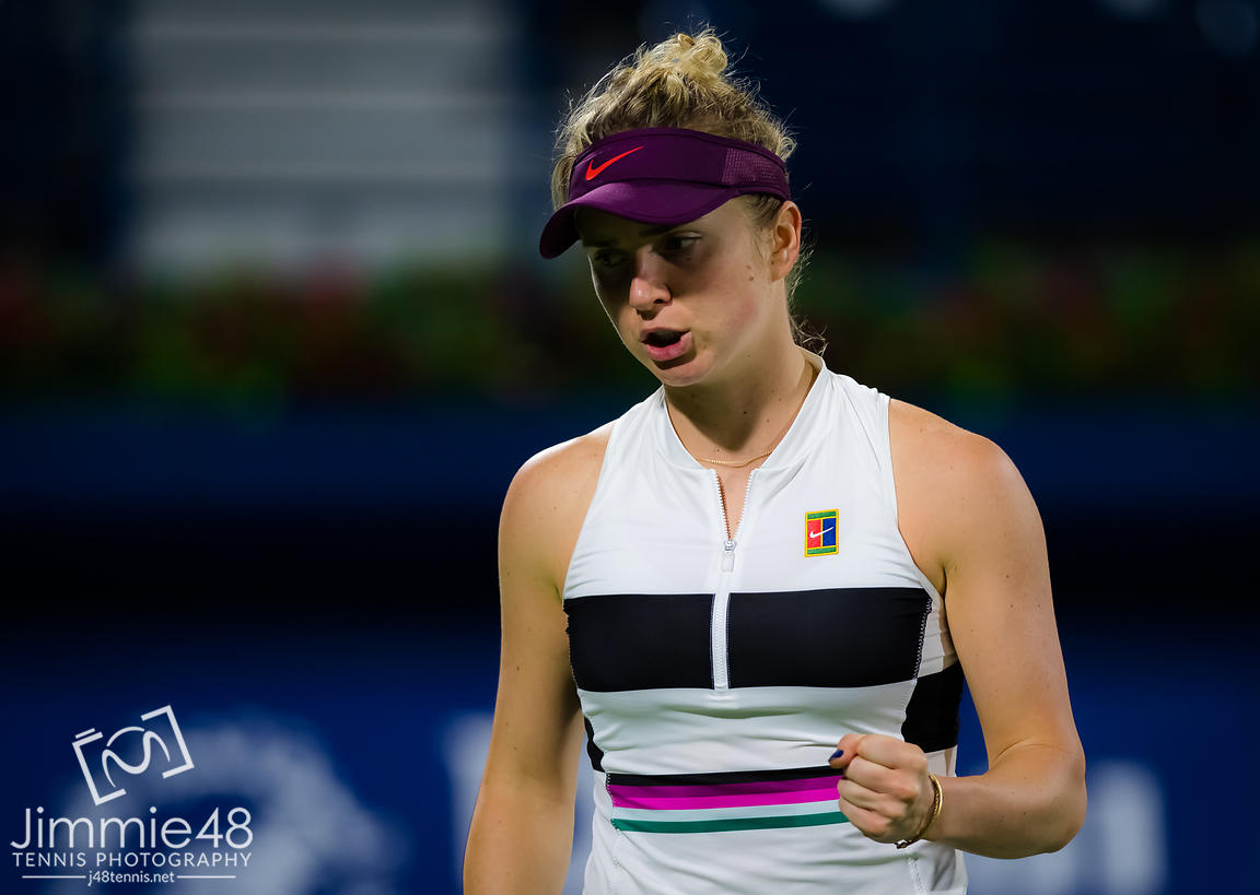 Elina Svitolina of the Ukraine in action during her third-round match at the 2019 Dubai Duty Free Tennis Championships WTA Premier 5 tennis tournament