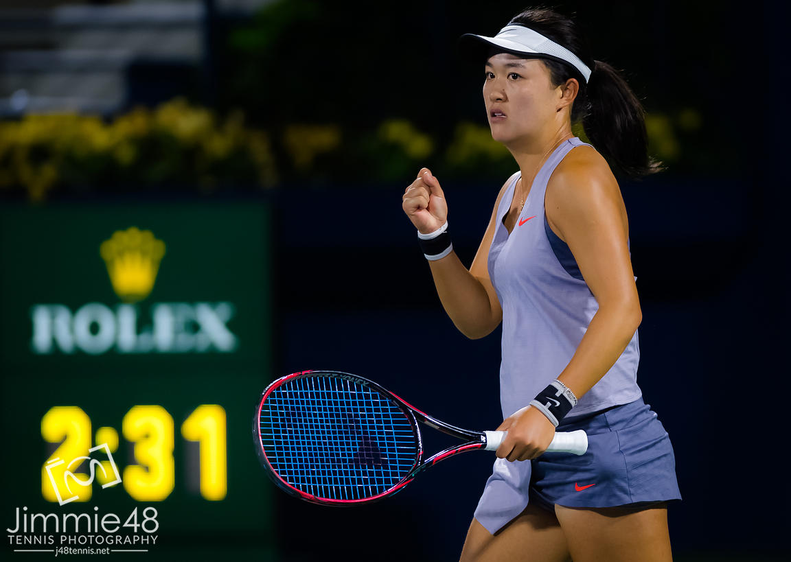 Lin Zhu of China in action during her first round match at the 2019 Dubai Duty Free Tennis Championships WTA Premier 5 tennis tournament