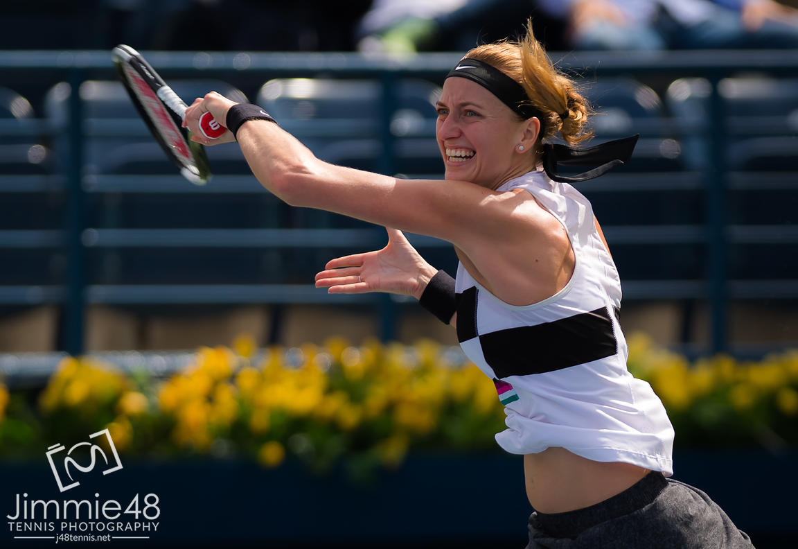 Petra Kvitova of the Czech Republic in action during her second-round match at the 2019 Dubai Duty Free Tennis Championships WTA Premier 5 tennis tournament