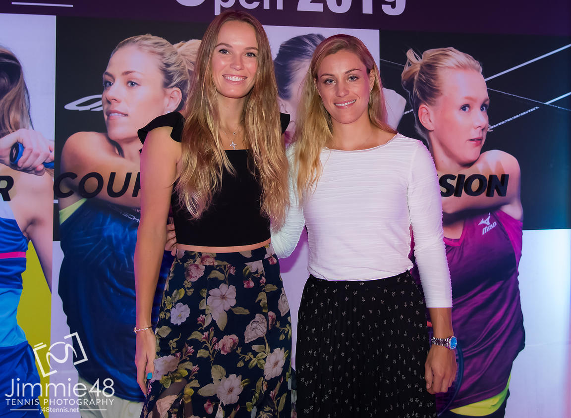 Caroline Wozniacki of Denmark & Angelique Kerber of Germany at the Players Party of the 2019 Qatar Total Open WTA Premier tennis tournament