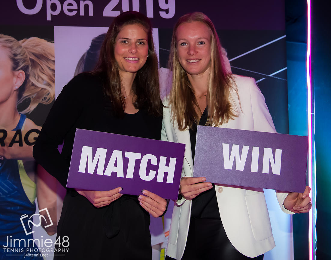 Julia Goerges of Germany & Kiki Bertens of the Netherlands at the Players Party of the 2019 Qatar Total Open WTA Premier tennis tournament