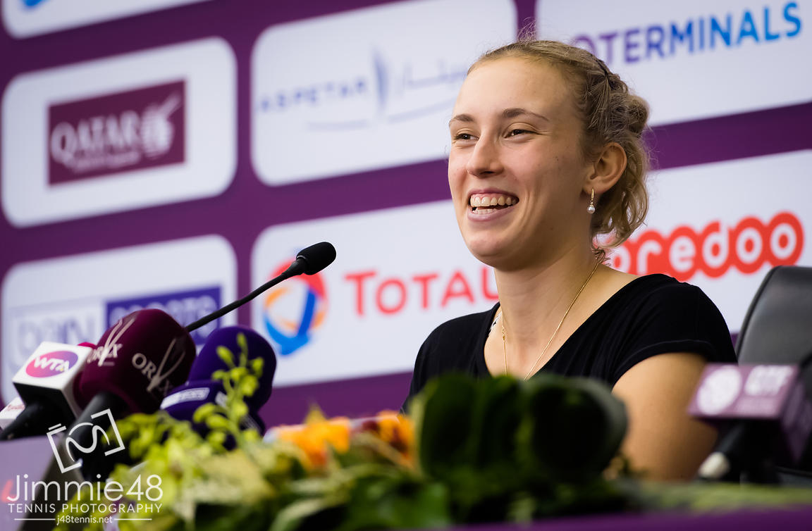 Elise Mertens of Belgium talks to the media after her semi-final at the 2019 Qatar Total Open WTA Premier tennis tournament
