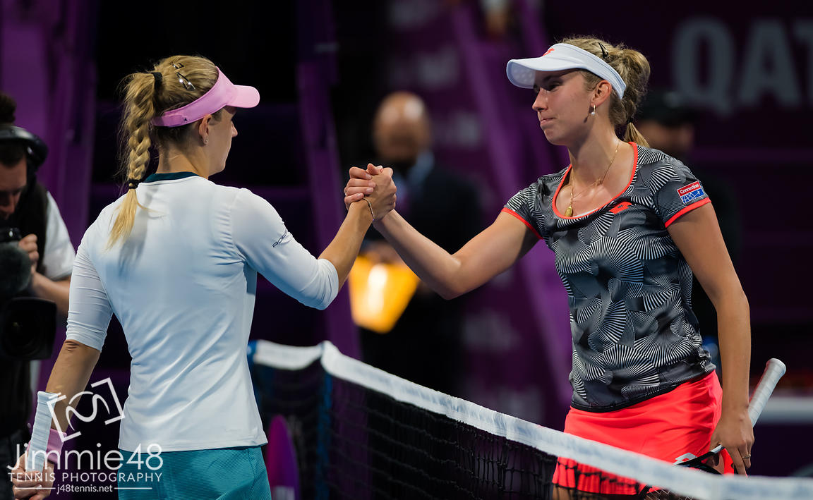 Angelique Kerber of Germany & Elise Mertens of Belgium at the net after their semi-final at the 2019 Qatar Total Open WTA Premier tennis tournament