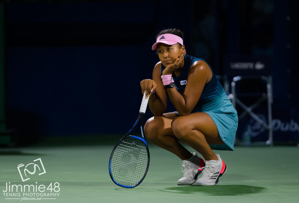 Naomi Osaka of Japan in action during her second-round match at the 2019 Dubai Duty Free Tennis Championships WTA Premier 5 tennis tournament