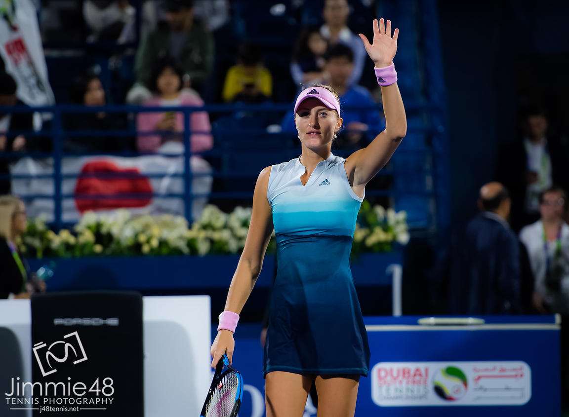 Kristina Mladenovic of France in action during her second-round match at the 2019 Dubai Duty Free Tennis Championships WTA Premier 5 tennis tournament