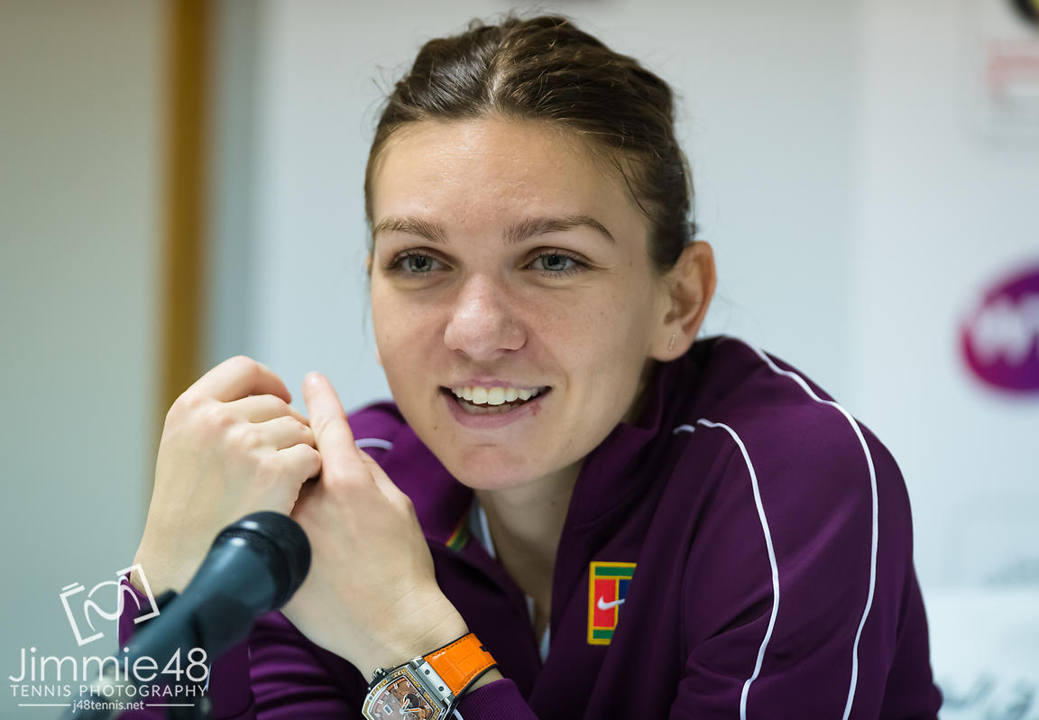 Simona Halep of Romania talks to the media after winning her second-round match at the 2019 Dubai Duty Free Tennis Championships WTA Premier 5 tennis tournament