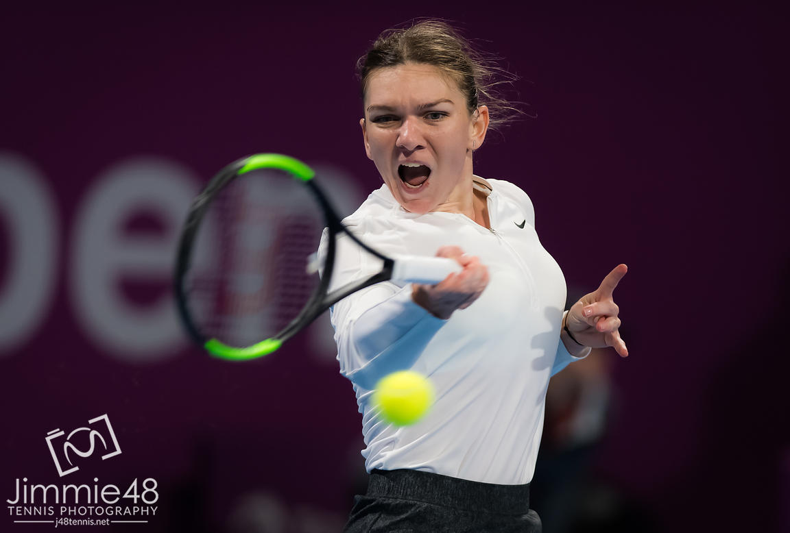 Simona Halep of Romania in action during her semi-final at the 2019 Qatar Total Open WTA Premier tennis tournament
