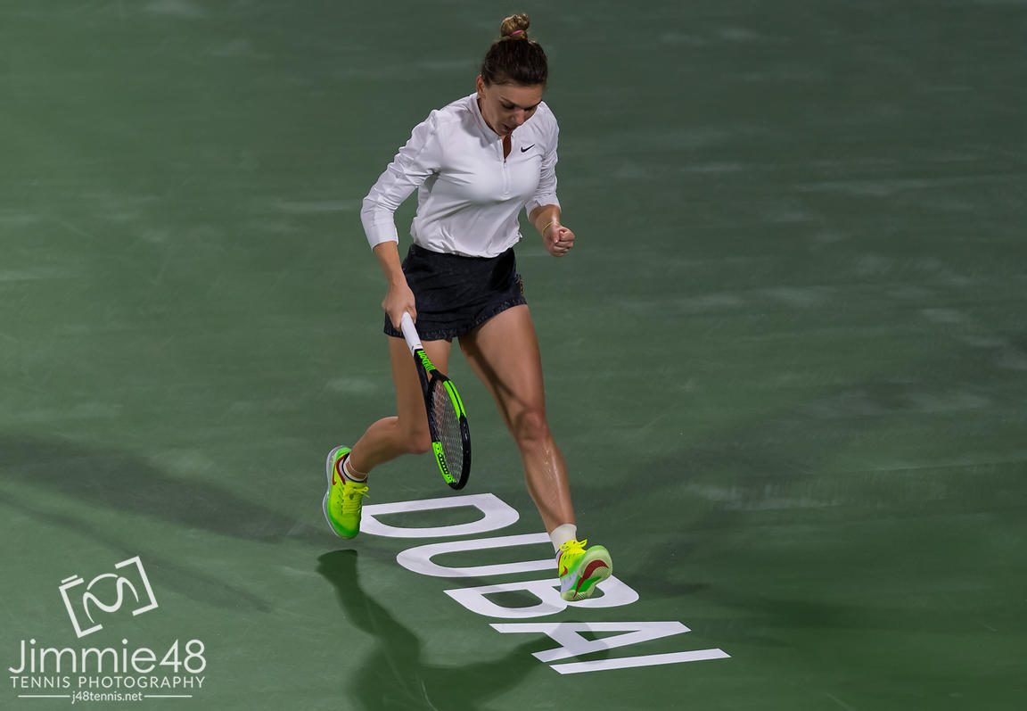 Simona Halep of Romania in action during her quarter-final match at the 2019 Dubai Duty Free Tennis Championships WTA Premier 5 tennis tournament