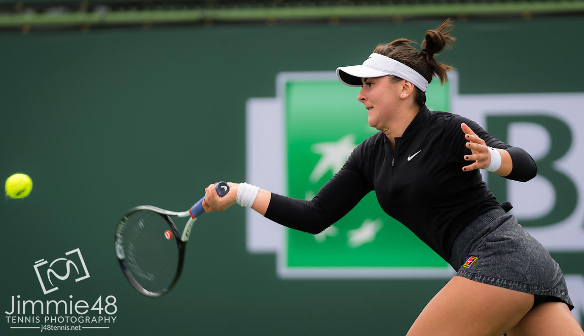 Bianca Andreescu of Canada in action during her fourth-round match at the 2019 BNP Paribas Open WTA Premier Mandatory tennis tournament