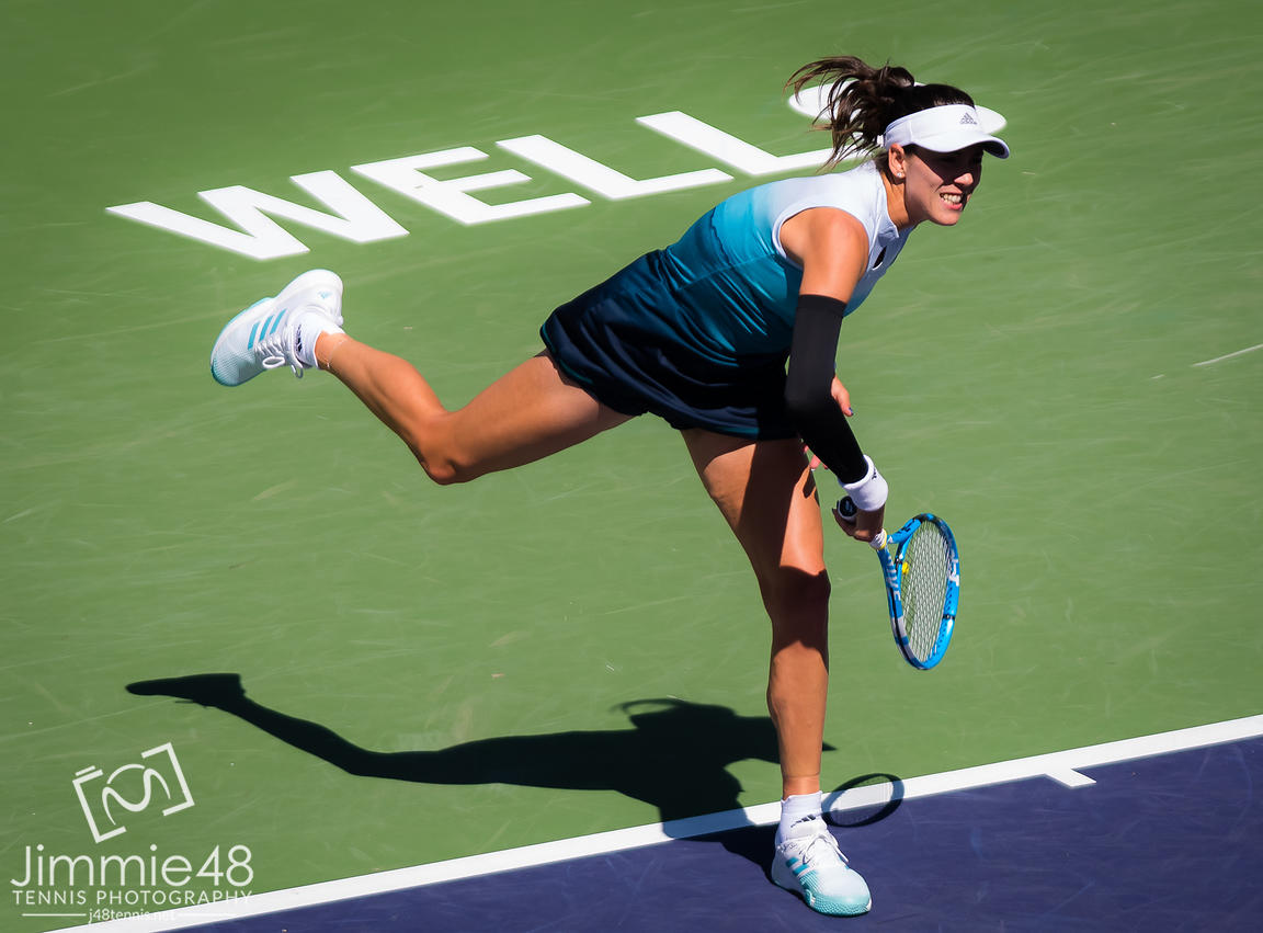 Garbine Muguruza of Spain in action during her quarter-final match at the 2019 BNP Paribas Open WTA Premier Mandatory tennis tournament