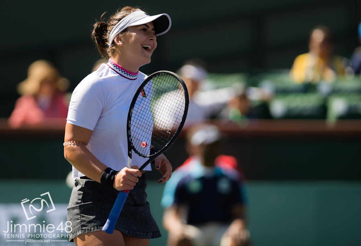Bianca Andreescu of Canada in action during her quarter-final match at the 2019 BNP Paribas Open WTA Premier Mandatory tennis tournament