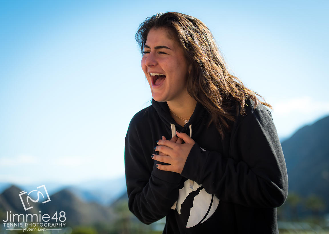 Bianca Andreescu of Canada during a video shoot after her quarter-final at the 2019 BNP Paribas Open WTA Premier Mandatory tennis tournament