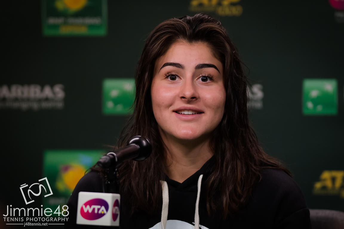 Bianca Andreescu of Canada talks to the media after her quarter-final at the 2019 BNP Paribas Open WTA Premier Mandatory tennis tournament