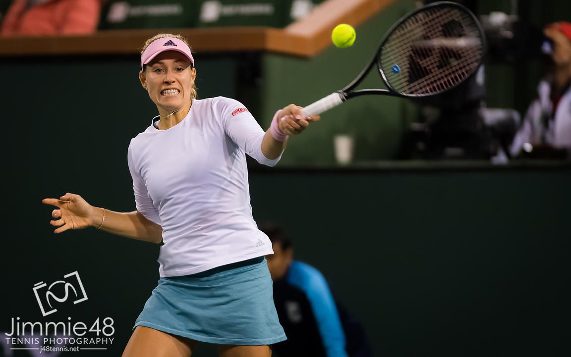 Angelique Kerber of Germany in action during her fourth-round match at the 2019 BNP Paribas Open WTA Premier Mandatory tennis tournament