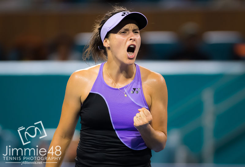Tatjana Maria of Germany in action during her third-round match at the 2019 Miami Open WTA Premier Mandatory tennis tournament