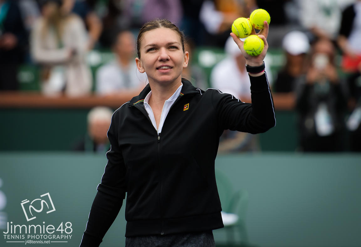 Simona Halep of Romania in action during her third-round match at the 2019 BNP Paribas Open WTA Premier Mandatory tennis tournament