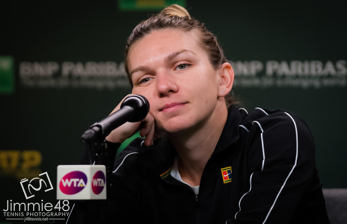 Simona Halep of Romania talks to the media after winning her third-round match at the 2019 BNP Paribas Open WTA Premier Mandatory tennis tournament