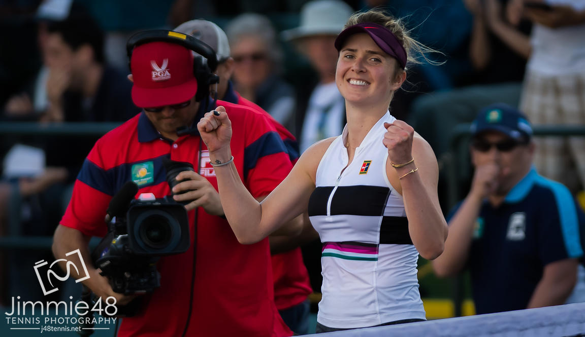 Elina Svitolina of the Ukraine in action during her fourth-round match at the 2019 BNP Paribas Open WTA Premier Mandatory tennis tournament