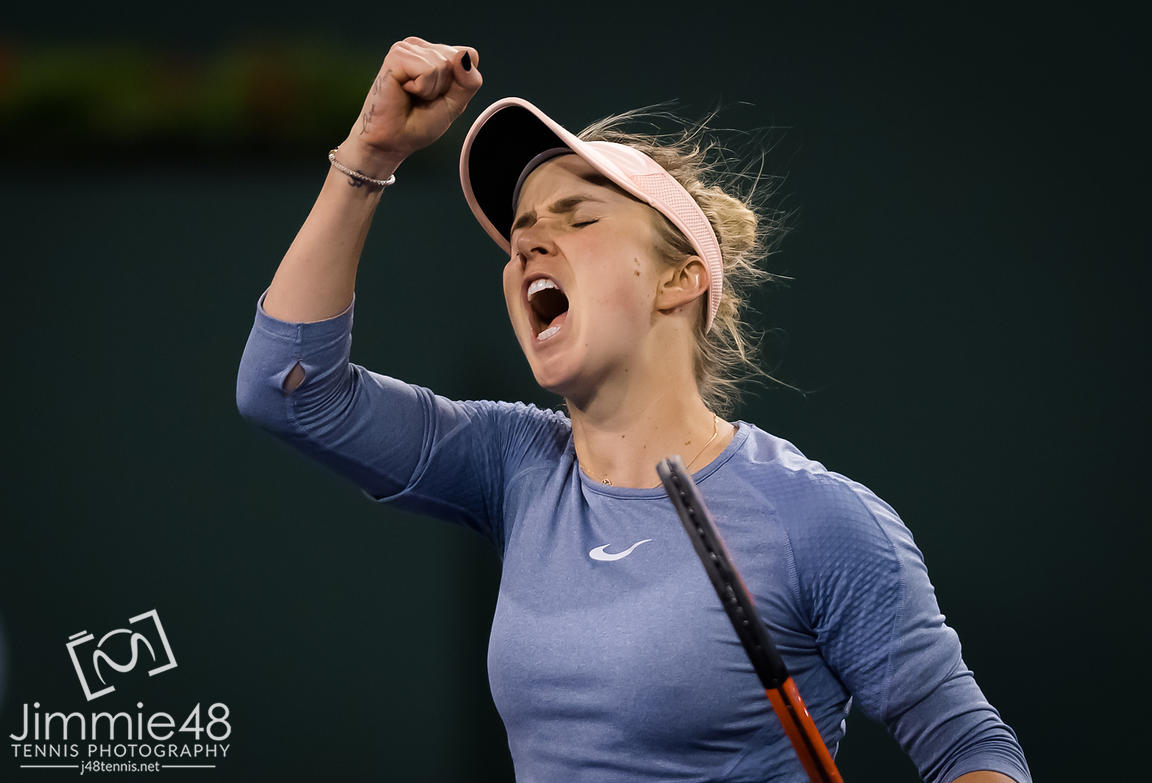 Elina Svitolina of the Ukraine in action during her quarter-final match at the 2019 BNP Paribas Open WTA Premier Mandatory tennis tournament