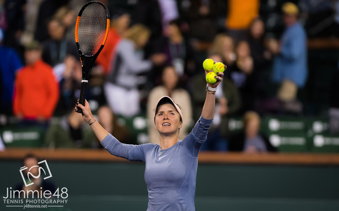 Elina Svitolina of the Ukraine after winning her quarter-final match at the 2019 BNP Paribas Open WTA Premier Mandatory tennis tournament