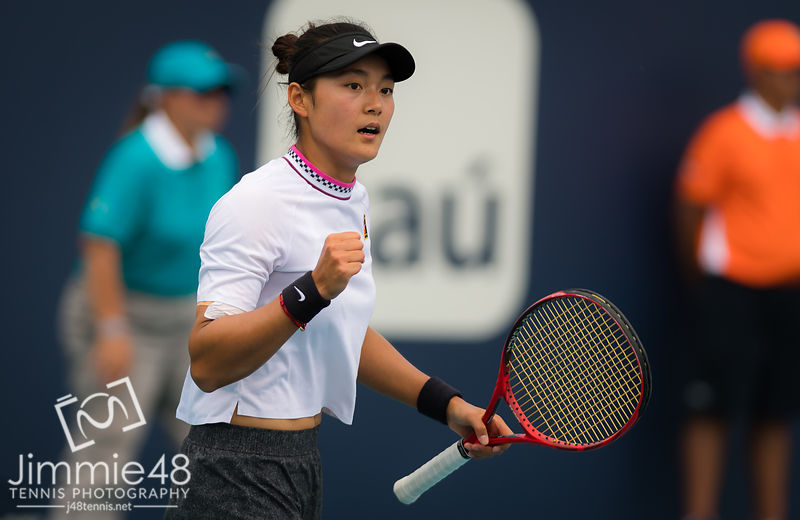 Yafan Wang of China in action during her third-round match at the 2019 Miami Open WTA Premier Mandatory tennis tournament