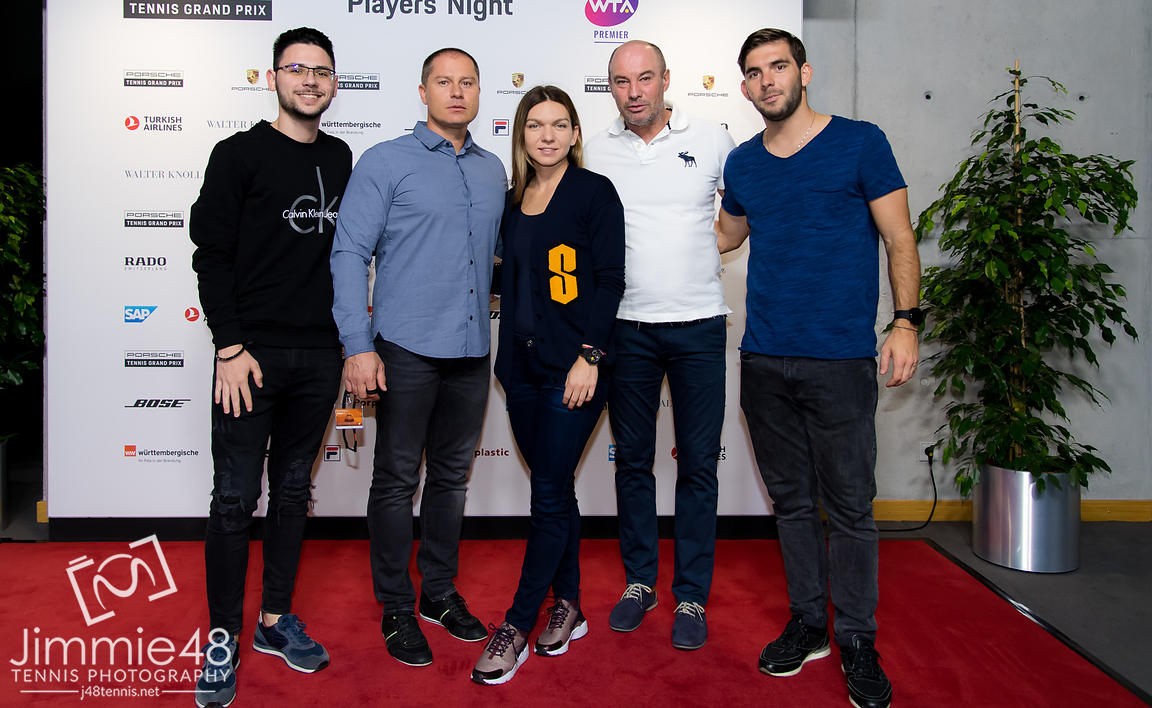 Simona Halep of Romania and her team at the Players Party of the 2019 Porsche Tennis Grand Prix WTA Premier tennis tournament