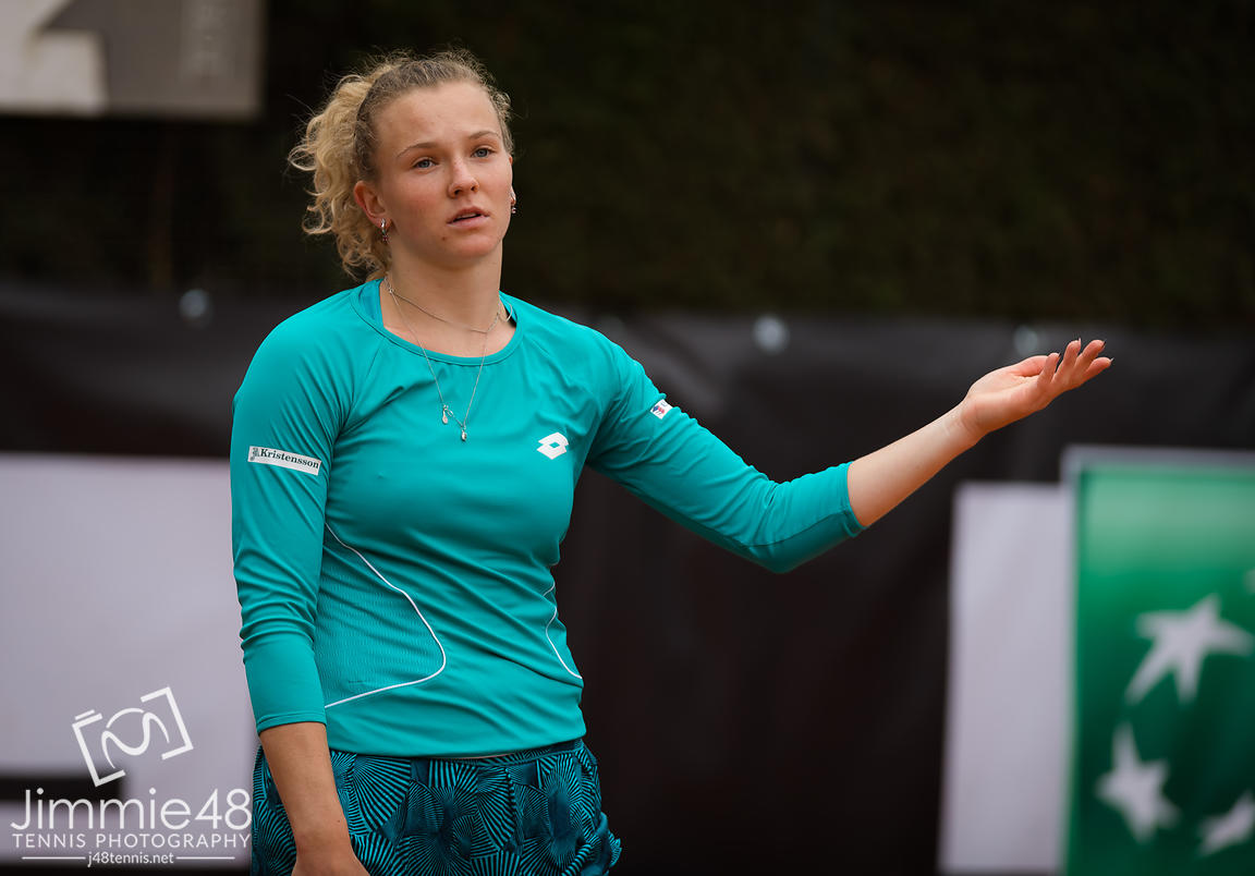 Katerina Siniakova of the Czech Republic in action during her first-round match at the 2019 Internazionali BNL d'Italia WTA Premier 5 tennis tournament