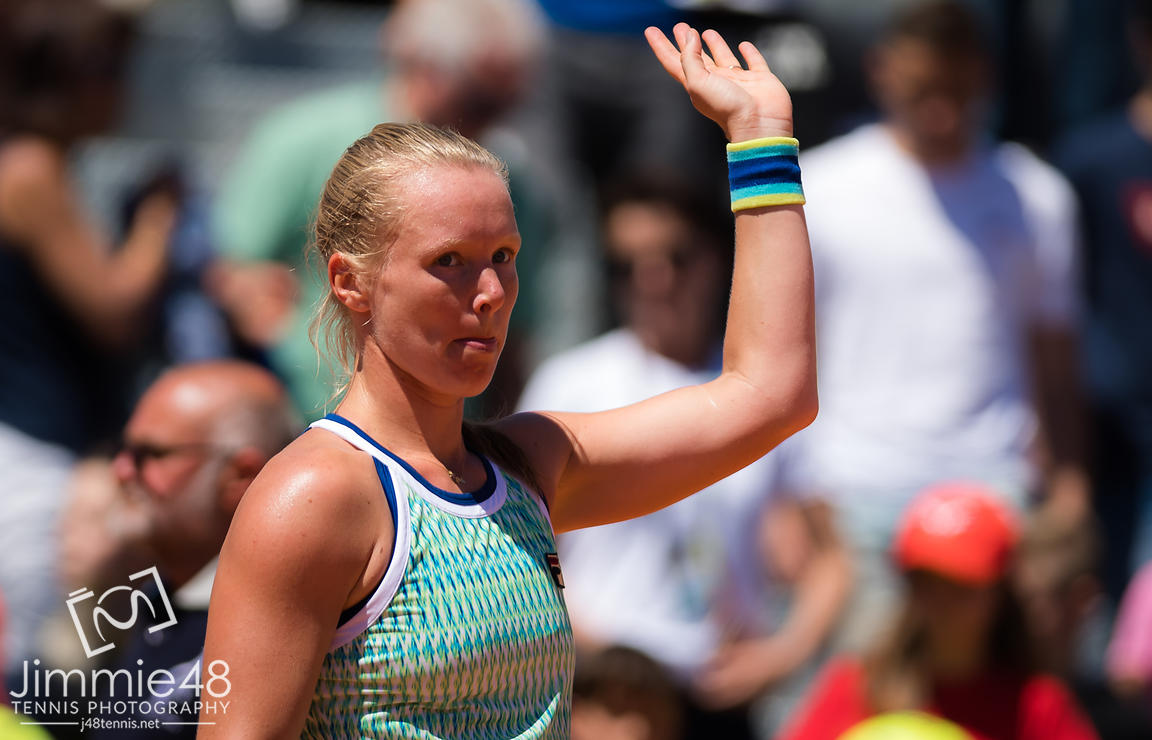 Kiki Bertens of the Netherlands in action during her second-round match at the 2019 Internazionali BNL d'Italia WTA Premier 5 tennis tournament