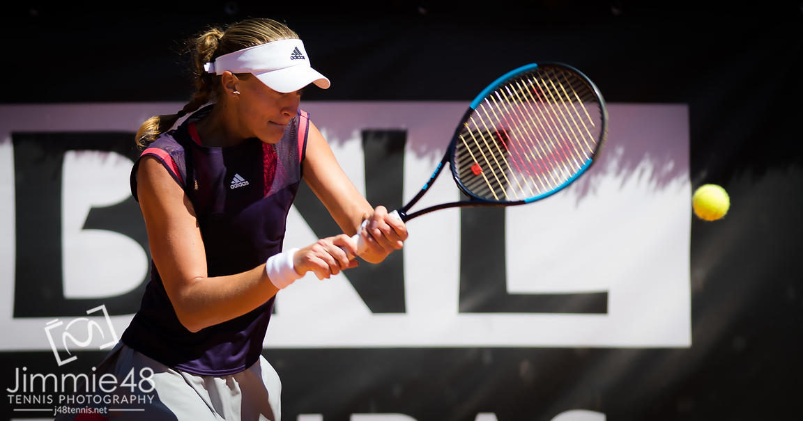 Kristina Mladenovic of France in action during her second-round match at the 2019 Internazionali BNL d'Italia WTA Premier 5 tennis tournament