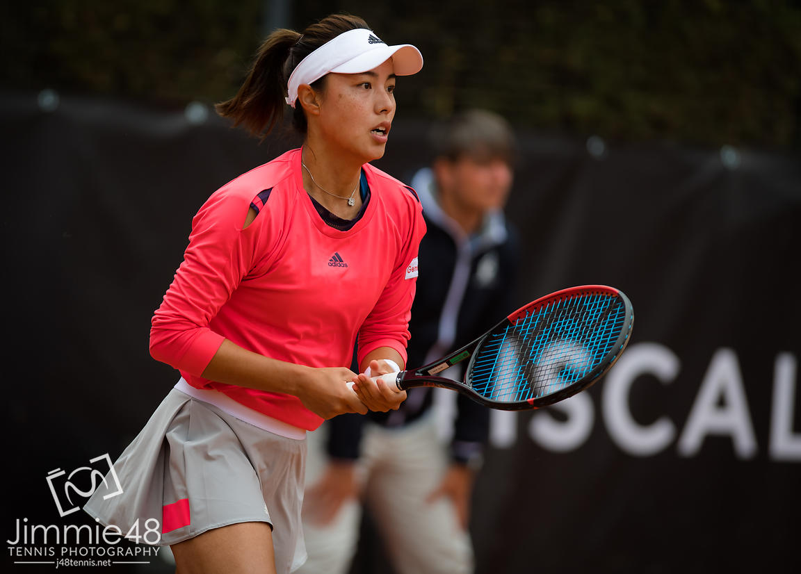 Qiang Wang of China in action during her first-round match at the 2019 Internazionali BNL d'Italia WTA Premier 5 tennis tournament