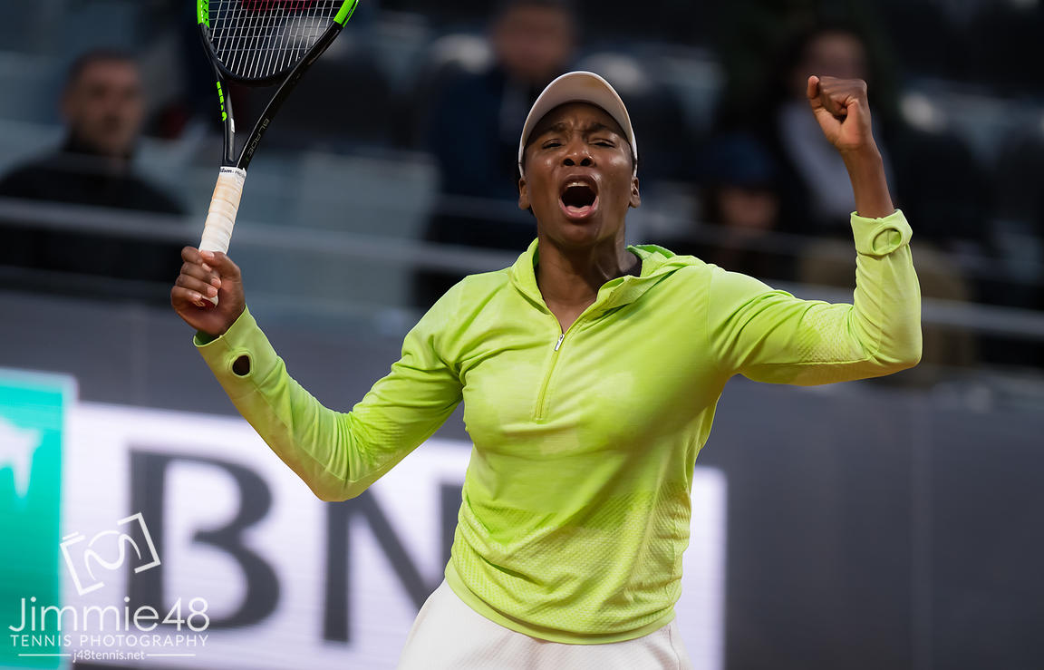 Venus Williams of the United States in action during her first-round match at the 2019 Internazionali BNL d'Italia WTA Premier 5 tennis tournament