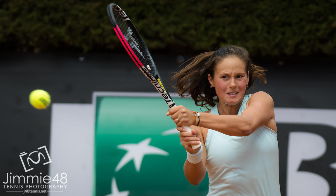 Daria Kasatkina of Russia in action during her first-round match at the 2019 Internazionali BNL d'Italia WTA Premier 5 tennis tournament