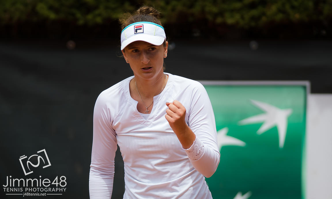 Irena-Camelia Begu of Romania in action during her first-round match at the 2019 Internazionali BNL d'Italia WTA Premier 5 tennis tournament