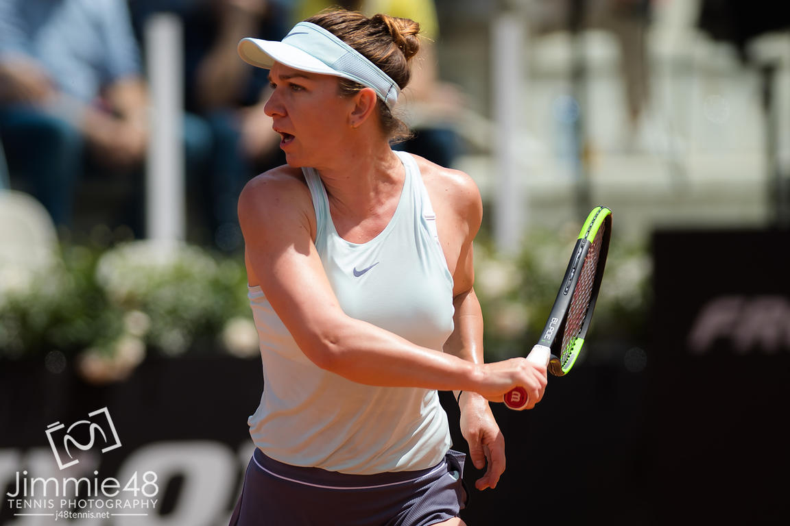 Simona Halep of Romania in action during her second-round match at the 2019 Internazionali BNL d'Italia WTA Premier 5 tennis tournament