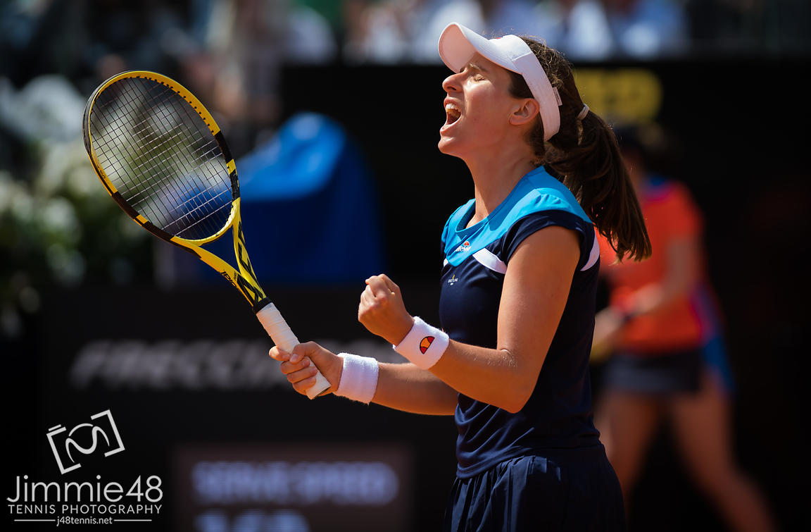 Johanna Konta of Great Britain in action during her semi-final match at the 2019 Internazionali BNL d'Italia WTA Premier 5 tennis tournament