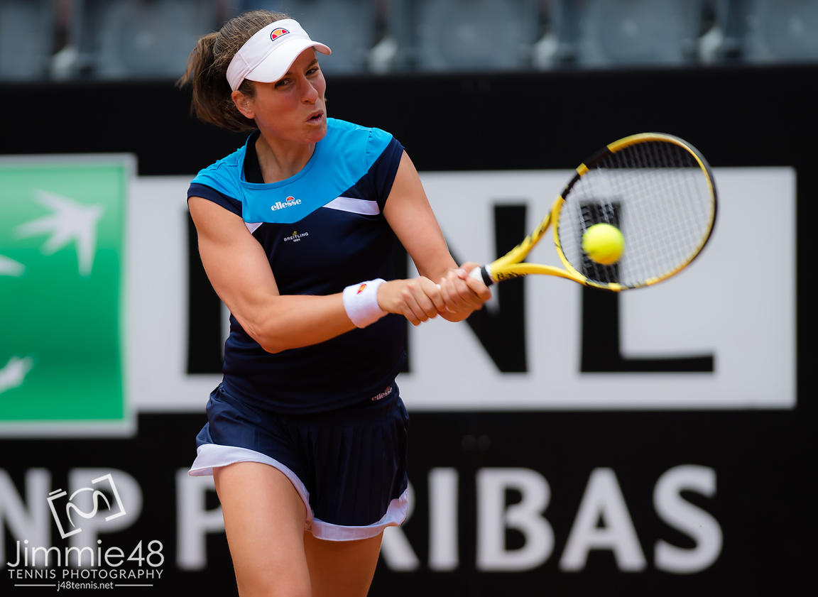 Johanna Konta of Great Britain in action during her semi-final at the 2019 Internazionali BNL d'Italia WTA Premier 5 tennis tournament