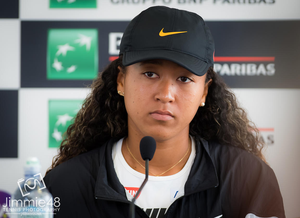Naomi Osaka of Japan talks to the media after withdrawing from her quarter-final match at the 2019 Internazionali BNL d'Italia WTA Premier 5 tennis tournament