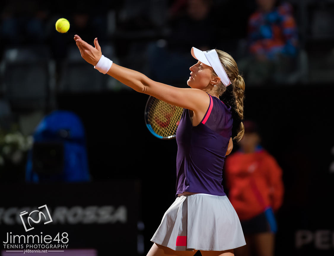 Kristina Mladenovic of France in action during her quarter-final match at the 2019 Internazionali BNL d'Italia WTA Premier 5 tennis tournament
