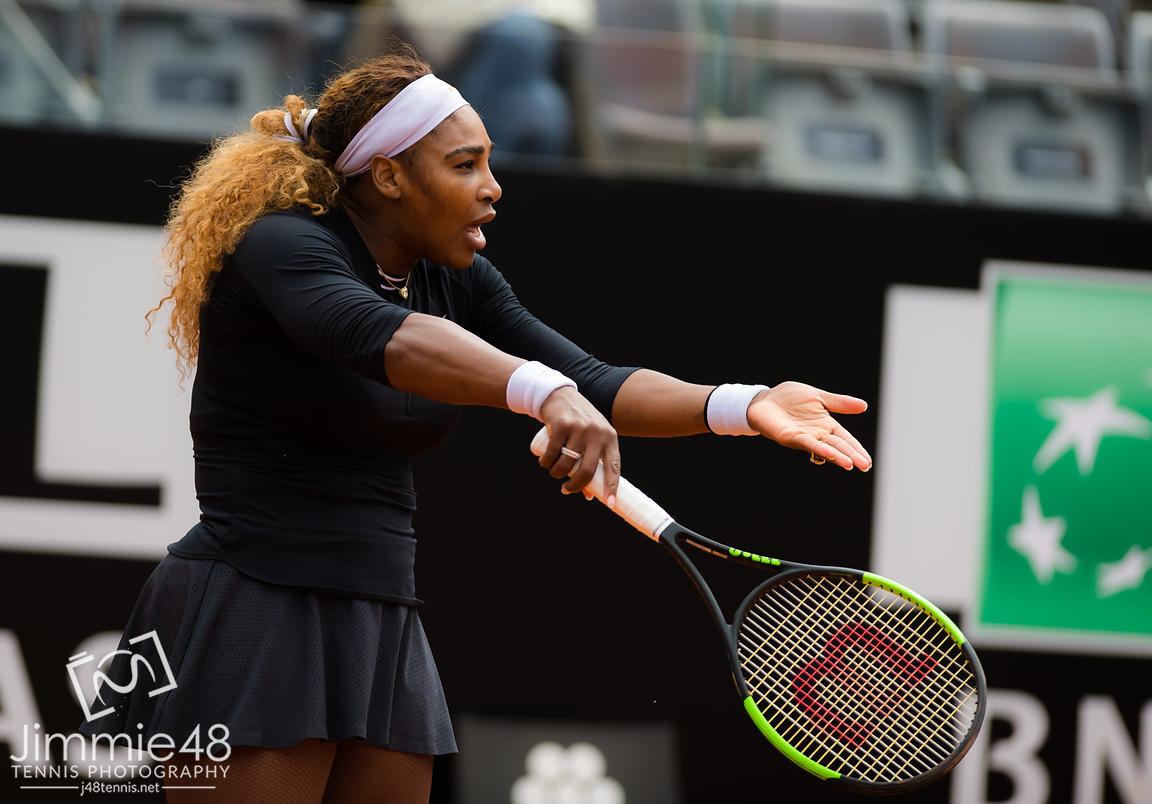 Serena Williams of the United States in action during her first-round match at the 2019 Internazionali BNL d'Italia WTA Premier 5 tennis tournament