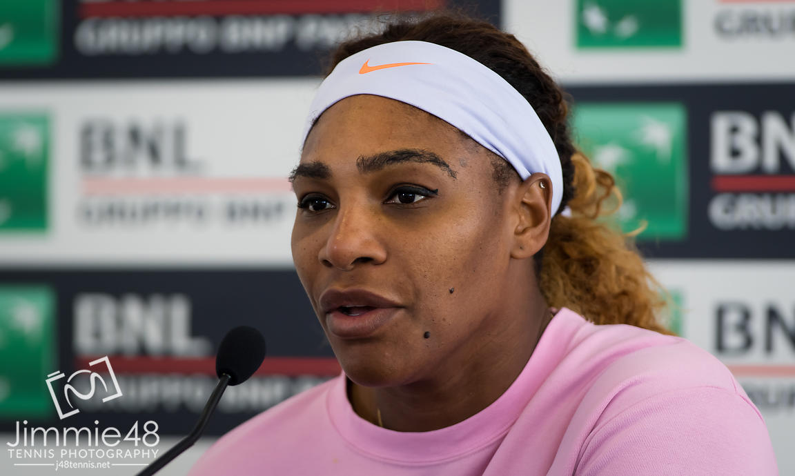 Serena Williams of the United States talks to the media after winning her first-round match at the 2019 Internazionali BNL d'Italia WTA Premier 5 tennis tournament
