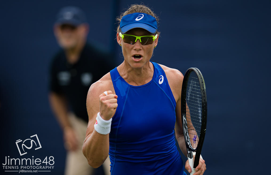 Samantha Stosur of Australia in action during her first-round match at the 2019 Nature Valley International WTA Premier tennis tournament