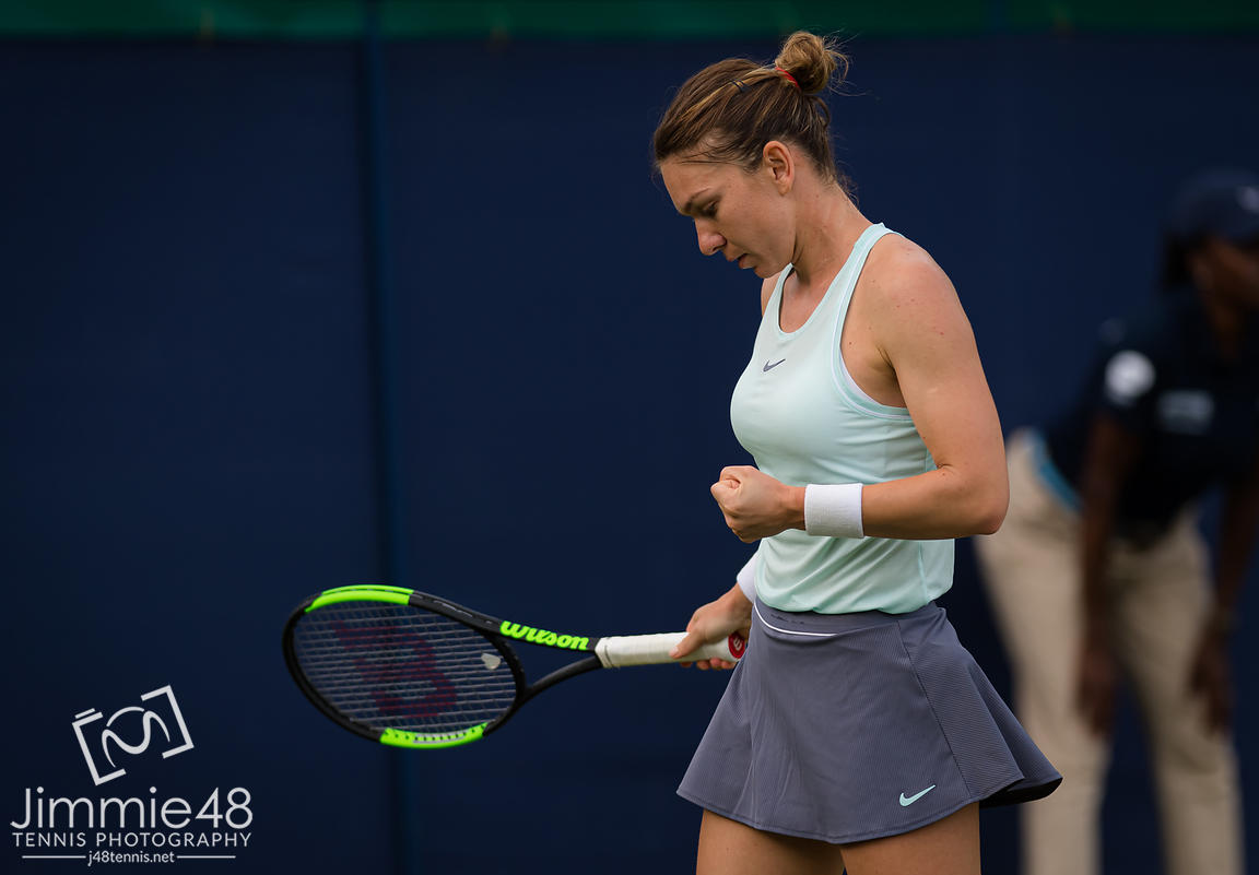 Simona Halep of Romania in action during her second-round match at the 2019 Nature Valley International WTA Premier tennis tournament