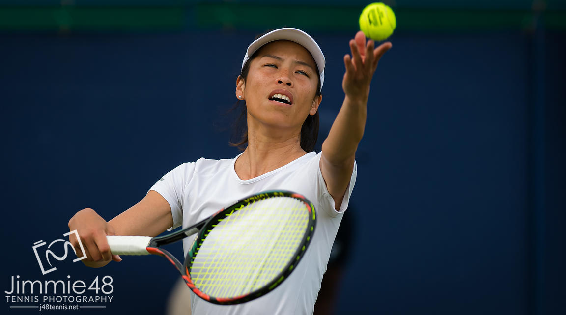 Su-Wei Hsieh of Chinese Taipeh in action during her second-round match at the 2019 Nature Valley International WTA Premier tennis tournament