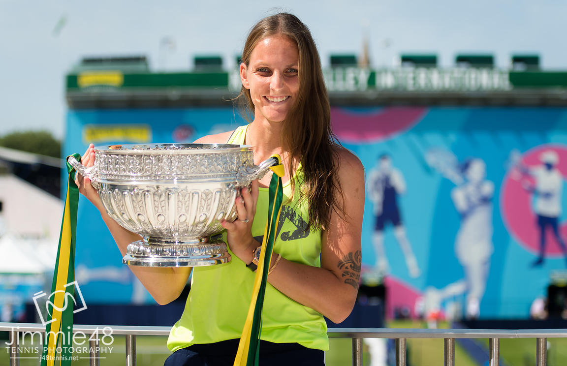 Karolina Pliskova of the Czech Republic and her trophy after winning the final of the 2019 Nature Valley International WTA Premier tennis tournament