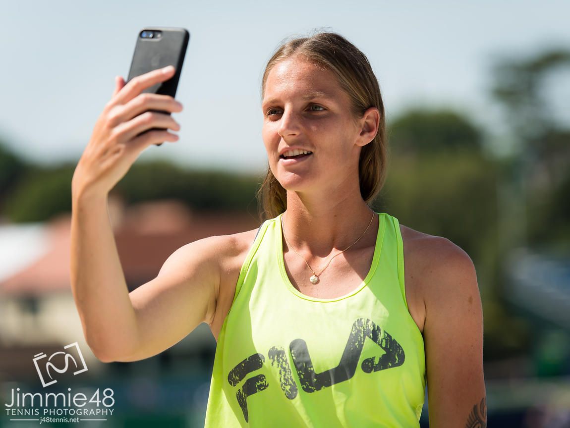 Karolina Pliskova of the Czech Republic talks to the media after winning the final of the 2019 Nature Valley International WTA Premier tennis tournament