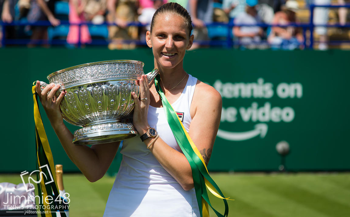 Karolina Pliskova of the Czech Republic poses with the winners trophy at the 2019 Nature Valley International WTA Premier tennis tournament