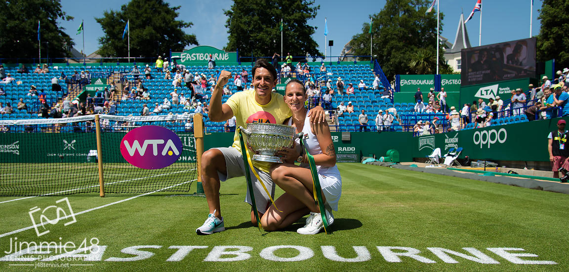 Karolina Pliskova of the Czech Republic and her husband Michal Hrdlicka with the winners trophy at the 2019 Nature Valley International WTA Premier tennis tournament